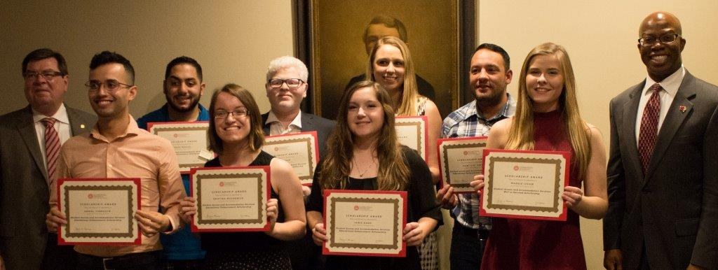photograph of scholarship recipients with president/vicepresident